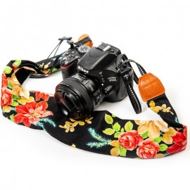 Black Floral Scarf Style Camera Strap