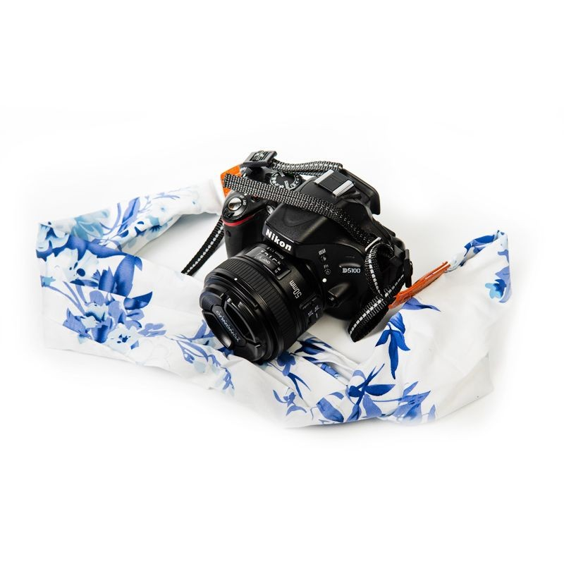 Blue Floral Scarf Style Camera Strap