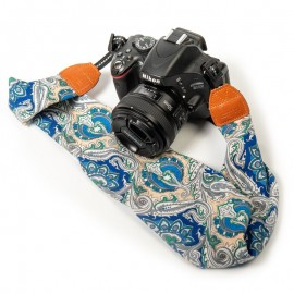 Blue Paisley Scarf Style Camera Strap