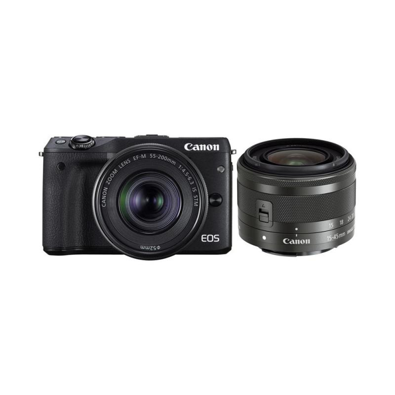 Canon EOS M3 Mirrorless Digital Camera with 15-45mm and 55-200mm + M Mount Adapter + 64GB SD