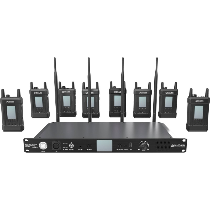 Hollyland Syscom 1000T-8B Full-Duplex Intercom System with Eight Beltpacks and Headsets