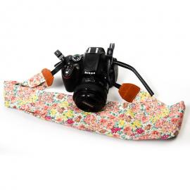 Light Pink Floral Scarf Style Camera Strap