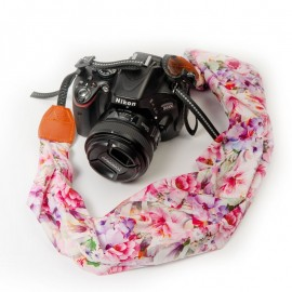 Pink Floral Scarf Style Camera Strap