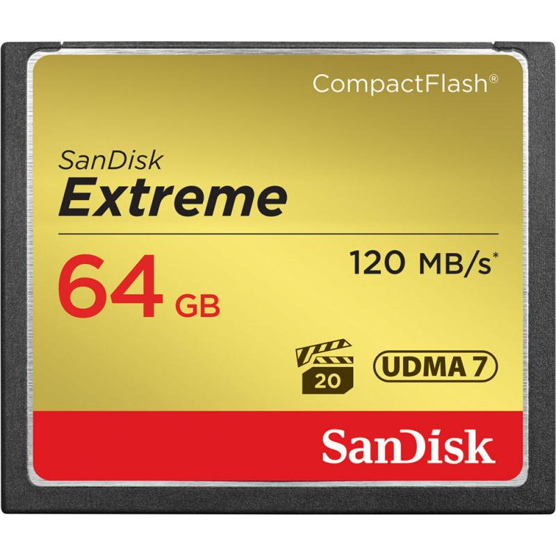 SanDisk 64GB Extreme CompactFlash 120Mb/s  Memory Card