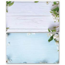 White and Blue Flower Wooden Double Sided Background for Product Photography