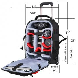Yaxiumei Trolly Bag for DSLR Large